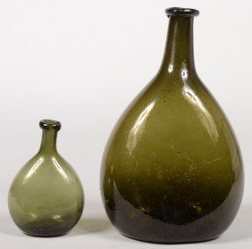 Two Blown Olive Green Glass Chestnut Bottles, Ovoi