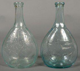 Two Aquamarine Quart Size Calabash Bottles. 1st Is