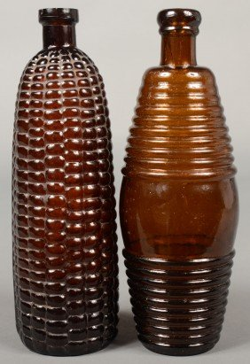 Two Amber Glass Bitters Bottles; 1st Is A Maze For