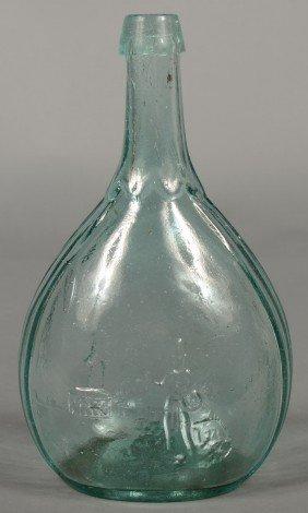 Aquamarine Glass Hunter/Fisherman Quart Size Calab