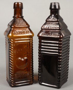 "Two Amber Glass Bitters Bottles; 1st Is A ""PERRINE"