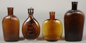 Four Amber Glass Pocket Flasks Including Two Verti