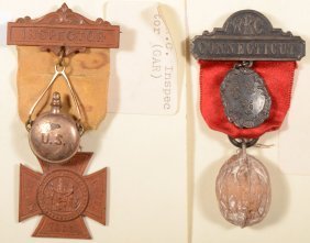 "Lot Of (2) Women's Relief Corps Badges: ""Inspector"""