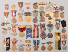 Lot Of Souvenir And Convention Medals, Badges, Ribb