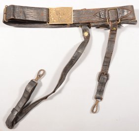 1875 - 1890 Era Leather Sword Belt With Hangers An