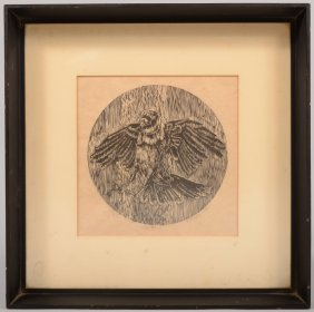 Single Color Wood Or Lino Cut Imprint Of A Crow On