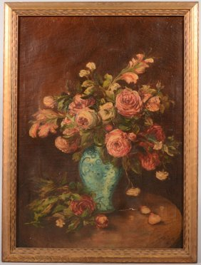 Still Life Of Roses In A Vase, Oil On Canvas. Signe