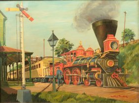 Mid Nineteenth Century Steam Engine And Train At A