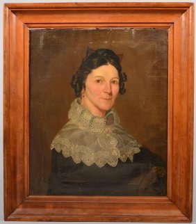 Large Portrait Of A Woman With High Lace Collared M