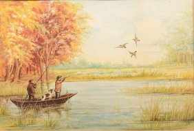 Duck Hunting In A Marsh, Watercolor On Paper. Unsig
