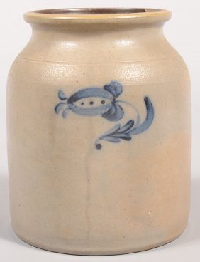 One Gallon Stoneware Crock With Cobalt Blue Floral