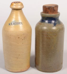 Two Glazed Stoneware Pottery Vessels; W. H. Gessner