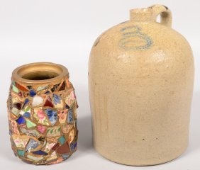 Two Stoneware Vessels. A Large Dome Top Jug With Sh