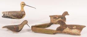 """Decoy Lot Of (3): """"V"""" Board Of 2 Bluebill Decoys, Wood"""