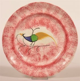 Red Spatter Peafowl Pattern Ironstone Plate.