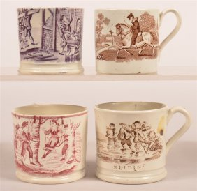 4 Ironstone Transfer Decorated Child's Mugs.