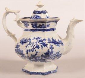 Chapoo Pattern Flow Blue Ironstone Coffee Pot.