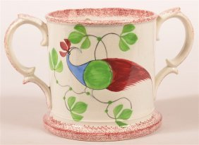 Extremely Rare Red Spatter Peafowl Loving Cup.