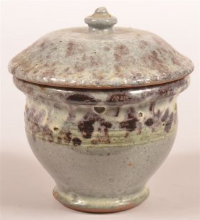 Stahl Redware Pottery Covered Sugar Bowl.