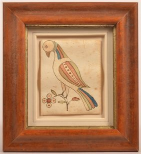 Fraktur Wood Block And Watercolor Of A Bird.