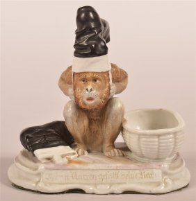 German Bisque Monkey Figural Match Safe.