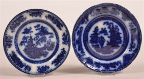 Two Flow Blue Transfer Decorated Plates.