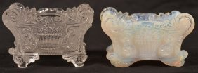 Two Lacy Pressed Glass Salt Dishes.