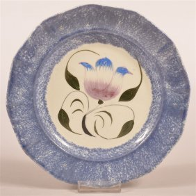 Mulberry Spatter Tulip Pattern Paneled Plate.