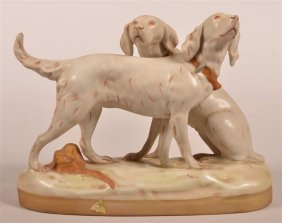 Royal Dux Porcelain Figurine Of Two Setter Dogs.