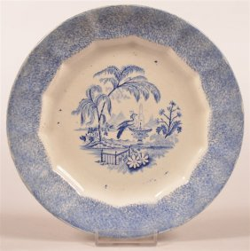 Blue Spatter Peafowl At Fountain Transfer Plate.
