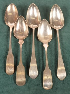 Five Various American Coin Silver Table Spoons.