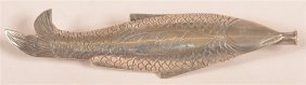 Coin Silver Fish Form Pin Back Needle Sheath.