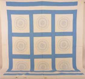 Antique Nine Block Plume Wreath Design Quilt.