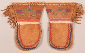 Vintage Chipewyan Type Moose Hide Mittens.