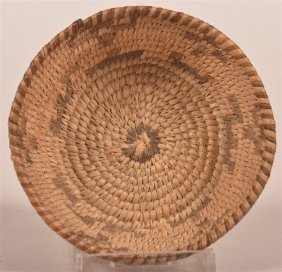 Antique Pima Indian Two Color Coil Basket.