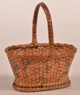 Antique Splint Willow Miniature Basket.