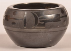 Vintage Pueblo Black On Blackware Pottery Bowl