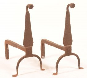 Late 18th/early 19th Century Iron Andirons.