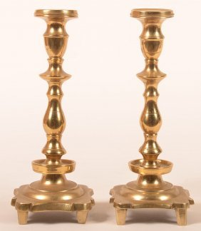 Pair Of Queen Anne Style Brass Candlesticks.