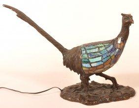 Charles Schneider Bronze Pheasant Lamp.
