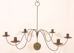 N.e. 19th Century Iron & Tin Candle Chandelier.