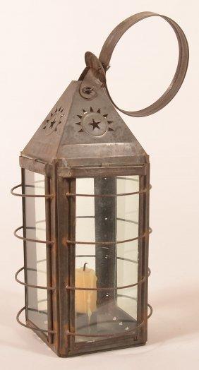 19th Century Pierced Tin Candle Lantern.