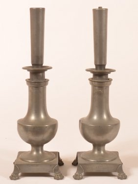 Pair Of French 19th Century Pewter Candlestick Form