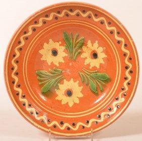 19th Cent. Floral Slip Dec. Redware Low Bowl.