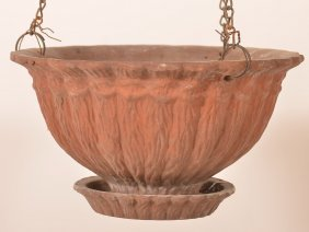 Early 20th Century Redware Hanging Planter.