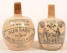 2 English Stoneware Transfer Whiskey Bottles.