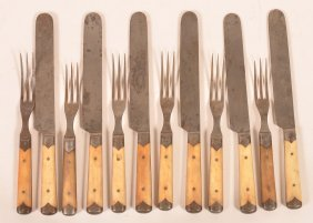 Twelve Pieces Of Flatware Marked Lawson And Goodnow Mfg