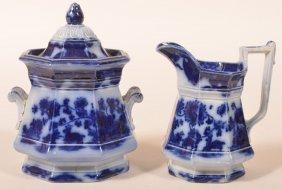 Flow Blue China Cashmere Pitcher & Sugar Bowl.