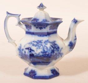 Flow Blue Ironstone Amoy Pattern. Coffeepot.