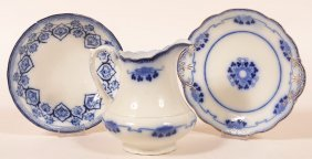 Three Pieces Of Flow Blue China.